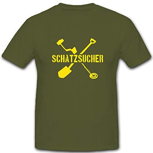 Schatzsucher Metalldetektor Schaufel Buddeln Schatz Hobby - T Shirt #3985, Größe:M, Farbe:Oliv
