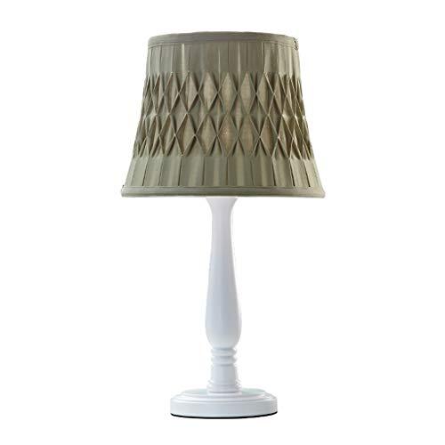Lámparas de Escritorio Tabla de madera muchacha dormitorio de la lámpara lámpara de cabecera tela de la lámpara de la sala dormitorio de la lámpara pequeña tabla Lámpara de Mesa (Color : Green)
