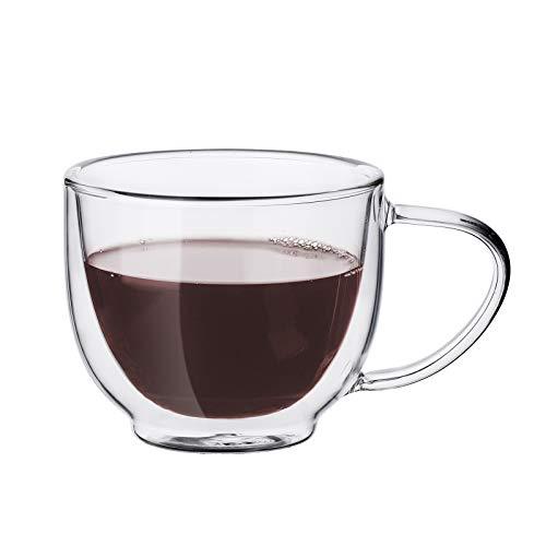 Wisolt Tazas de café de cristal, de doble pared, con asa, 200 ml
