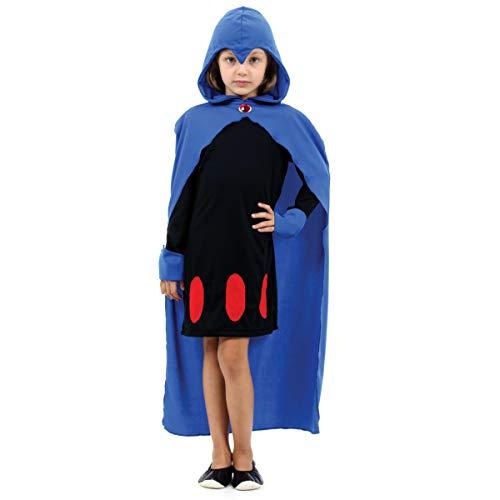 Sulamericana Fantasias Ravena Teen Titans, G 10/12 Anos, Azul/Preto