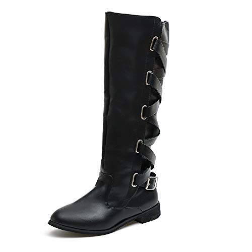 JiaMeng Zapatos Combat con Correa Moda Mujer Fashion, Zapatos con Hebillas Roman Riding Knee High Botas de Vaquero Long Boots (Ropa)