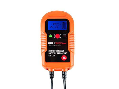 Bullwing BL4.0 - vollautomatisches universal Batterieladegerät, 6V / 12V / 4A, Display Digital, Orange, 205 x 115 x 60 mm