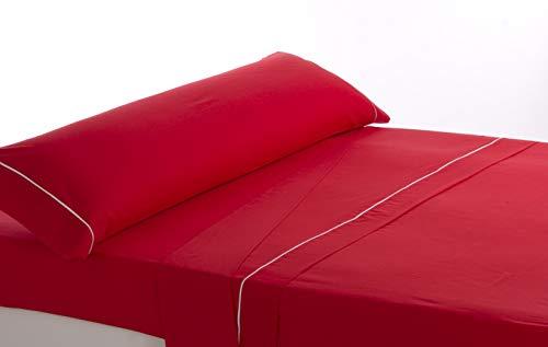 Lovetextil Juego de sábanas Algodon 100%. Color Rojo. para Cama de 105 cm. 3 Piezas (Sábana encimera+Bajera+Funda Almohada). Tejido Muy Suave