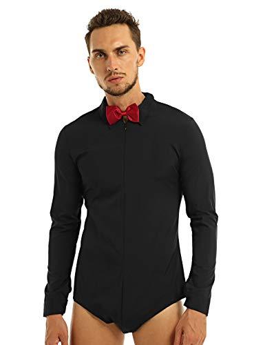iEFiEL Mens Long Sleeve Latin Modern Dance Shirt with Bowtie One-Piece Leotard Bodysuit Romper Shirt Black M