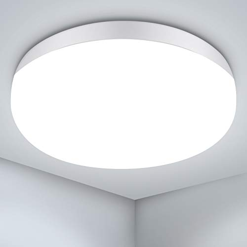Plafon LED de Techo, Gr8ware 30W Lámpara de Techo LED IP56 Impermeable 3750LM 4350K Blanco Natural Equivalente a 200W Lámpara Incandescente para Cocina, Sala de Estar, Dormitorio Pasillo Ø 25cm
