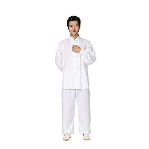 Zidao Chinos Tradicionales Uniformes De Tai Chi, Prendas De Vestir Traje De Seda Unisex Ropa De Entrenamiento De Taekwondo Toallas Traje De Yoga Artes Marciales De Kung Fu,Blanco,L