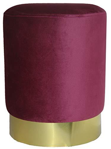 Bada Bing Hochwertiger Samthocker Bordeaux Gold Ø 33 x H. 43 cm Hocker Pouf Sitzhocker Weinrot Rot Trend 71