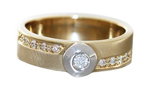 Hobra-Gold Anillo de oro 585 brillante de 0,16 quilates, bicolor, diamantes macizos, RW 57