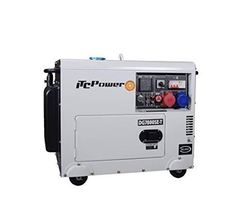 ITCPower IT-DG7800SET, Generador Diésel Insonorizado Full Power, 230 V, blanco/negro