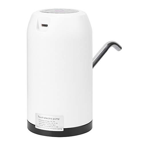 SALALIS Bomba de Agua portátil, Bomba de Botella de Agua Carga USB Manguera de Silicona Batería de Gran Capacidad PP + ABS + Acero Inoxidable para Camping para Cocina(Blanco)