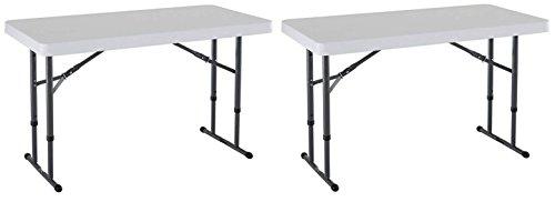 Lifetime 80160 Commercial Height Adjustable Folding Utility Table, 4 Feet, 2 Pack White Granite