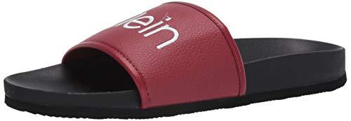 Calvin Klein Men's Pike Slide Sandal, Brick Red, 10 M