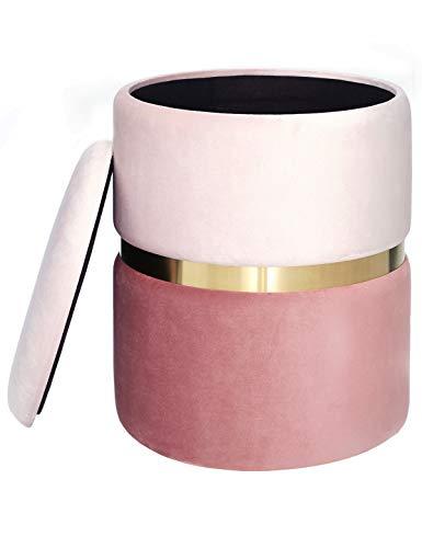 pouf contenitore bagno Pouf Contenitore Sgabello in Velluto Poggiapiedi Puff Rotondo Coperchio Rimovibile Moderno per Tavolo da Trucco Toeletta Salotto Corridoio Camera Metallo Dorata Rosa