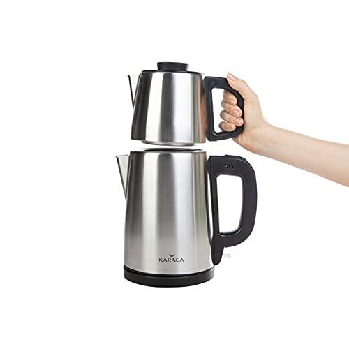 KARACA Tea Time Teemaschine Tea Break Teemaschine Inox Schwarz, Tee, Tea maker, Caydanlık, Demlik, Teepot, Wasserkocher Teekanne Wahlschalter Wasser aufkochen/heiß halten