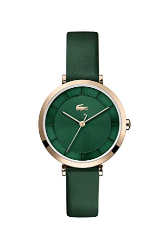 Lacoste Women's Geneva Stainless Steel Quartz Watch with Leather Strap, Green, 12 (Model: 2001138)