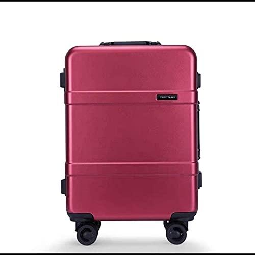 GPWDSN Maleta con Marco de Aluminio, Red Universal para Ruedas, Equipaje Rojo, 20 chasis de embarque, 22 Pulgadas, 24 Caja de...