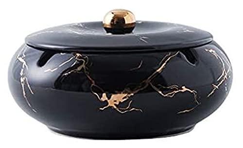 Cenicero para cigarrillos creativo artesanía decoración duradera cerámica oro patrón con tapa de coche al aire libre hogar mesa de café mesa de escritorio 5,7 pulgadas en el interior bandeja de ceniza
