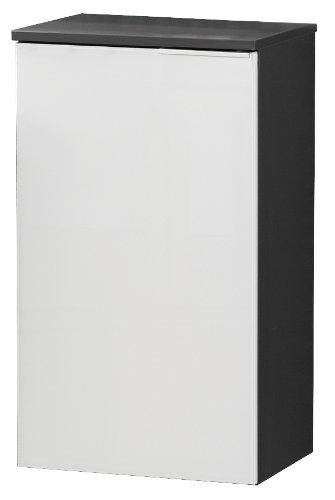 FACKELMANN Unterschrank KARA / Badschrank mit Soft-Close-System / Maße (B x H x T): ca. 41 x 70 x 32 cm / hochwertiger Schrank fürs Bad / Türanschlag links / Korpus: Anthrazit / Front: lackiertes Glas in Weiß