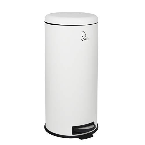SVITA T30 Mülleimer Weiß Treteimer Abfalleimer 30 Liter inkl. Inneneimer rund Küchen-Hilfe
