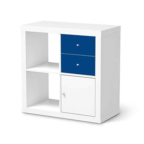 creatisto Möbelfolie passend für IKEA Kallax Regal Schubladen I Möbeldeko - Möbel-Folie Tattoo Sticker I Wohn Deko Ideen für Wohnzimmer, Schlafzimmer - Design: Blau Dark