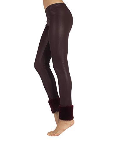 CALZITALY – Leggings Efecto Piel Térmicos   Mallas de Cuero Granates   Pantalones Térmicos   XS, S, M, L   Made in Italy  