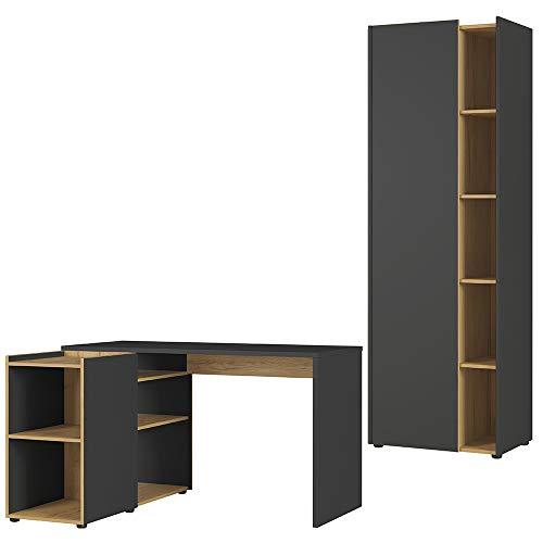 Germania 2-tlg. Büro-Set 8597-549 GW-Austin, bestehend aus Schreibtisch und Aktenschrank, im Dekor Graphit/Navarra-Eiche-Nb.
