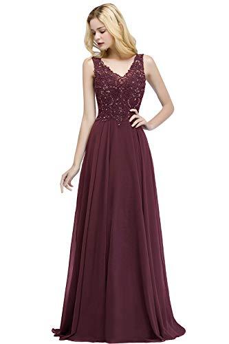 Damen Elegant Ärmellos Spitze Abschlusskleid Abiballkleid Applique Rückenfrei lang Wein Rot 34