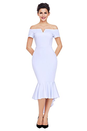 Ouregrace Womens Fishtail Long Evening Dress Off Shoulder Party Dress White