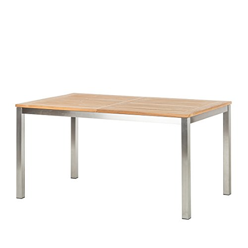 Ambientehome Tisch, Ausziehbarer Teakholz Edelstahl Lagos Esstisch Gartentisch, braun, 150x90x75 cm, 69283