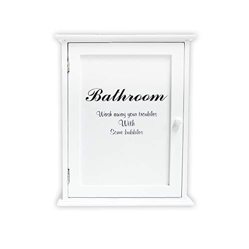 DRULINE Medizinschrank Bathroom Hausapotheke Apothekerschrank Schrank Arzneischrank Erste Hilfe Schrank aus Holz Medikamente Verbandszeug |10019095 | LHC002 | L x B x H 24 x 13 x 30 | Weiß