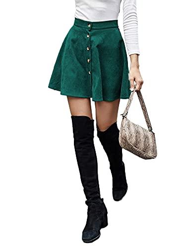 Falda de pana para mujer, de cintura alta, casual, básica, de color sólido, vestido corto, con mini botones, para la escuela, De Color Verde Oscuro, 40