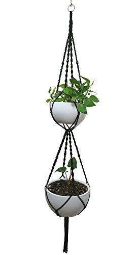 Macrame Plant Hanger & Holder, Hanging Planter 4 Legs Double Deck For 8 inch to 10 inch Two Pots Indoor Outdoor Hanging Planter Hemp Rope 67 Inch with Metal ring (Cotton-Black)