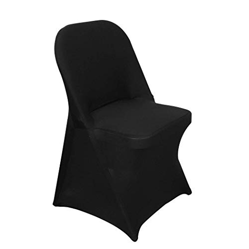 MASTER TRADE 10Pcs Black Chair Cover Spandex Stretch Folding Chair Covers for Wedding Dinner Decoration