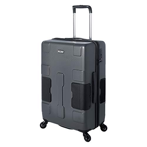 TACH V3 Hard Shell Carry On Luggage 22x14x9 | Carry on Luggage with Spinner Wheels & Patented Built-in Connecting System | One Piece Rolling Suitcase Links 6 Bags at Once - in Grey