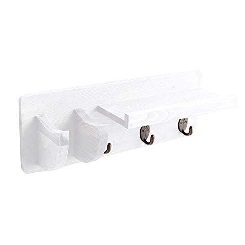Soporte de pared para guitarra de madera/colgador de guitarra de ahorro de espacio con soporte de selección 3 gancho/para la exhibición y la decoración del hogar (Blanco)