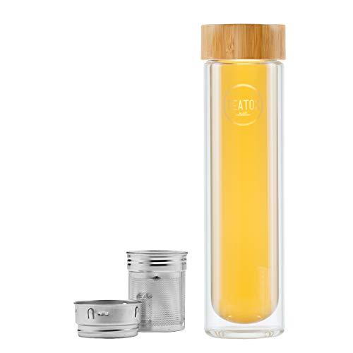 Teatox Thermos da 500 ml I to Go con infusore rimovibile, thermos a doppia parete con manico, bevande calde, frullati e acqua, per mani e sport (bambù)