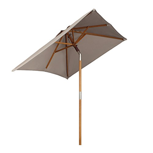 Sekey® 200 × 150 cm Parasol en Bois inclinable pour Patio Jardin Balcon Piscine Plage rectangulaire Beige/Taupe Sunscreen UV50+