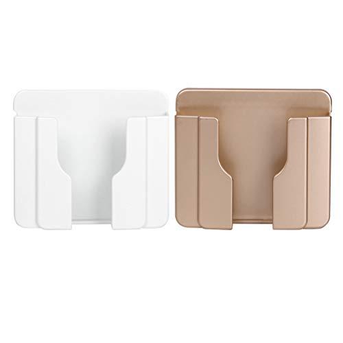 Hemobllo Rack de carga para teléfono móvil con soporte para teléfono de pared 2 piezas para móvil universal (blanco y dorado)