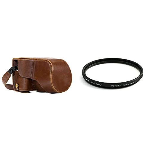 MegaGear MG982 Estuche Ever Ready, Funda de Cuero, de Pronto Uso, con Correa Compatible con Fujifilm + Hoya Pro1 Digital UV Filter 58mm - Filtro de protección UV para Objetivo de 58 mm, Montura Negra