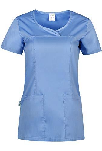 INES Kasack Damen Pflege Damen Kasack Schlupfkasack Kurzarm V-Ausschnitt Berufskleidung Kasacks Damen Pflege (Blau, L)