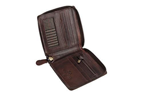 DUA RFID Mens Genuine Leather Bifold Zip Around Wallet Black & Brown (Brown)