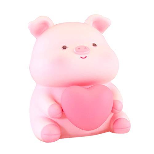 huchas Piggy Piggy Bank, Niños Resina Piggy Bank, Bank de Monedas para niños y niñas, Regalos para Adultos con Luces Decoradas Recuerdos Caja de Dinero (Color : Light Pink)
