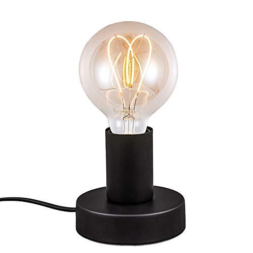 Mengjay Industrielampe Vintage Tischleuchte mit Kabelschalter Retro Nachttischlampe Tischlampe E27 Matt,Wohnzimmer Tisch Nachttischlampen Tischleuchte-Schwarz ohne Leuchtmittel Ø10cm