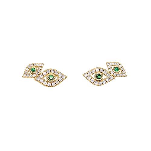 Xpccj Pendientes de tuerca con circonita cúbica blanca verde doble mal de ojo para niñas y mujeres con ojo turco de la suerte (color del metal: color dorado)