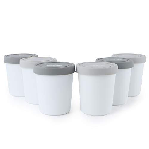 SveBake Eisbehälter für Speiseeis 180ml - 6er-Set mit Deckeln aus Silikon, Behälter Hausgemachte für Eiscreme