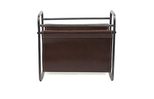Desktop Leather Magazine Holder - Free Standing Floor, Desk and Table Top Storage and Display Stand - Books, Newspapers, Files, Folders - Decorative Design for Home or Office - by Designstyles