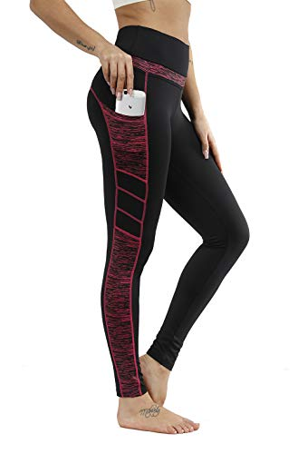 TrendiMax Damen Sport Leggings, Blickdicht Lange Sporthose, Yogahose mit Taschen & 3D-Druck