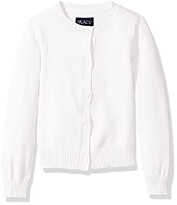 The Children's Place Baby Girls' Toddler Uniform Cardigan Sweater, White, 5T