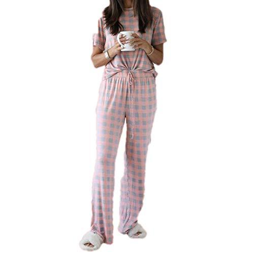 Pijamas de algodón para Mujer Pantalones Largos de Manga Corta Ropa de Dormir Traje de casa de 2 Piezas