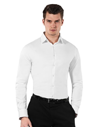 Vincenzo Boretti Men's Shirt Body Fit (stretch, specially cut to,white,17.5″Neck